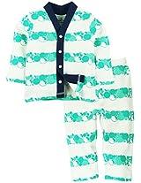Full Sleeves Printed Night Wear Set - White/ Aqua Blue (0-6 Months)
