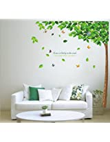 Createforlife Home Decoration Art Vinyl Mural Wall Sticker Decal Tree Falling Leaves Green Decal Paper