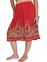 Exotic India Short Skirt With Printed Flowers and Embroidered Sequins - Color Scarlet RedGarment Size Free Size