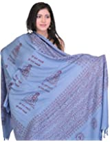 Exotic India Prayer Shawl of Gautam Buddha - Blue