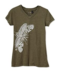 Joe's Jeans Girl's Mosquito Print Crinkle Tee (Olive)