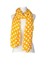 Vozaf Women's Viscose Stoles & Scarves - Yellow And White With Polka Dots