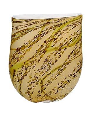 La Meridian Art Glass Vase, Amber/Multi