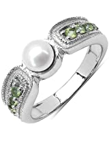 1.18CTW Genuine Pearl & Peridot .925 Sterling Silver Solitaire Ring
