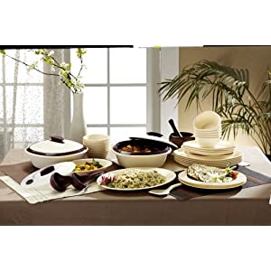 Signoraware Square Dinner Set, 36-Pieces, Off White/Maroon