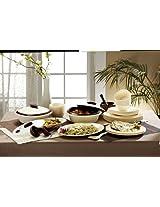 Signoraware Square Dinner Set, 36-Pieces, Off White/Maroon