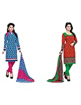 BanoRani Womens Combo Blue & Orange Color Casual & Printed PolyCotton Ladies Unstitched Salwar Suit Dress Material with Printed Dupatta