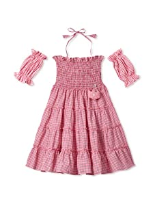 4EverPrincess Girl's Gipsy Dress with Sleeve (Pink)