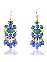 Cinderella Collection by Shining Diva Golden & Blue Coloured Bead Hanging Earrings for Women 6994er