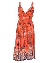 Pure Nautanki Women's Cotton V-Neck Dress (SK-1666_L, Orange , L)
