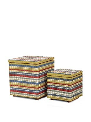 Jeffan Set of 2 Funstripes Square Storage Cubes, Multicolor