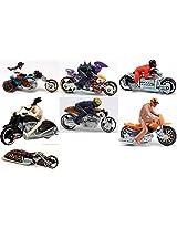HOT WHEELS MOTO BIKES WITH RIDERS-SET OF 7