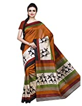 ISHIN Art Silk Multicolor Printed Saree