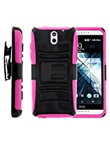 HTC Desire 610 Case, HTC Desire 610 Holster, Two Layer Hybrid Armor Hard Cover with Built in Kickstand for HTC Desire 610 (AT&T) from MINITURTLE | Includes Screen Protector - Black / Pink