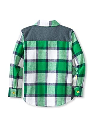 Kartoons Kid's Flannel Button-Up Shirt with Knit Trim