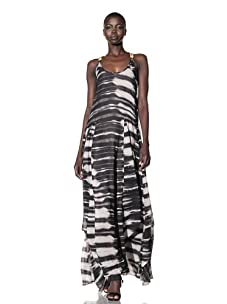 L.A.M.B. Women's Stucco Printed Maxi Dress (Chino/Black)