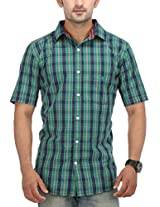 SPEAK Men's Green Checkered Cotton Half Sleeves Casual Shirt
