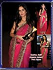 Katrina Kaif Bright Net Pink Bollywood Style Saree - SSBW13