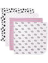 Gerber Baby-Girls Newborn 4 Pack Flannel Blanket Dalmation, Pink, One Size