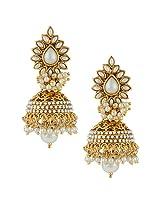 Ethnic Indian Bollywood Fashion Jewelry Set Jhumki EarringsSAEA0866WH