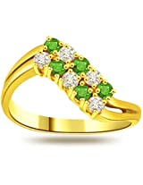 Diamond & Real Round Emerald Ring in 18kt Gold