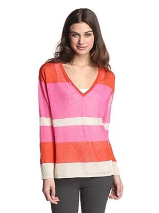 525 America Women's V-Neck Stripe Pullover (Hot Pink Combo)