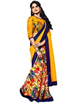 Sapphire Fashions Women's Yellow Georgette Saree