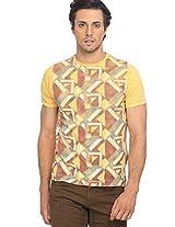 Printed Yellow Round Neck T-Shirt