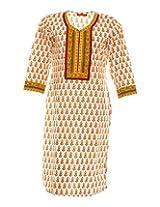Vinorisa Girl's Cotton Regular Fit Kurti (Cream & Orange, X-Large)