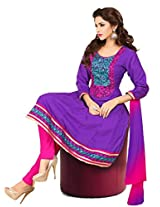 Purple cotton anarkali casual wear suit with embroidered work and chiffon dupatta