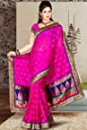 Hot Magenta Benarasi Silk and Net Embroidered Festival Saree