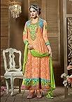 Orange Faux Georgette Shabana Designer Anarkali Suit