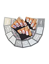 Lovely Nail Art 3D Stickers Decals Silver Gold Black & White Variety Pack of 10 - Long Ornaments ♥ Hearts ♥ Fish ♥ - / GSBWIII /