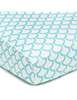 American Baby Company 100% Cotton Percale Fitted Crib Sheet, Aqua Sea Waves