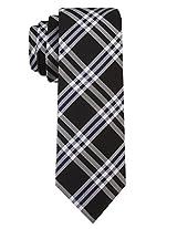 Scott Allan Men's 100% Silk Plaid Necktie - Black/NavyBlue