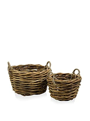 Set of 2 Round Capuchin Oversized Rattan Baskets