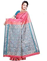 Ghasitaram Pink and Blue Silk Saree/Sari (F-44)