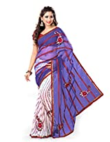 Sourbh Saree White Purple Net And Faux Georgette Half Half Patch Work Best Sarees for Women Party Wear,Karwa Chauth Gifts, Women Clothing Collection