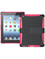 Flip Kick Stand Hard Dual Armor Hybrid Bumper Back Case Cover For Apple iPad Tablet 2 3 4 - Pink