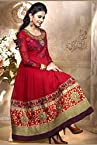 Valehri Dazzling Red Embroidered Celebrity Semi Stitched Salwar Suit with Dupatta