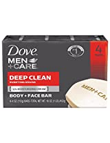 Dove Men + Care Body and Face Bar, Deep Clean, 4 Bar