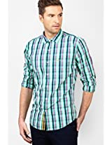 Checks Green Slim Fit Casual Shirt