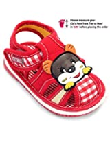 Cute Walk Baby Sandal Velcro Closure Red - Cat Face Patch
