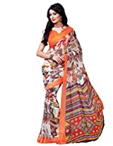 Riti Riwaz Off White & Grey saree with unstitched blouse RVL330A