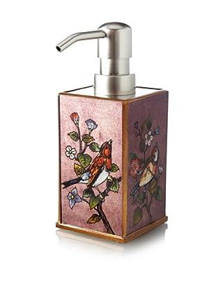 Reverse-Painted Glass Liquid Soap Dispenser, Plum
