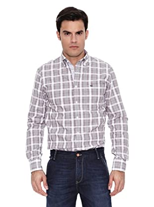 Pedro del Hierro Camisa Non Iron Sport Cuadro Grande (Marrón Oscuro)