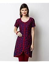 Yepme Women's Red & Blue Polyester Kurti - YPMKURT0750_XL
