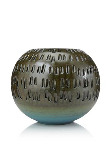 Global Views Round Ceramic Vase (Green)