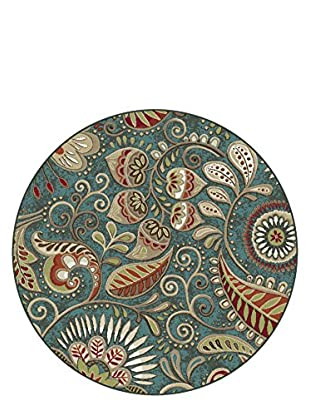 Universal Rugs Capri Transitional Area Rug, Blue, 6' Round