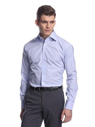 Oxxford Men's Spread Collar Dress Shirt (Light Blue/Red Check)